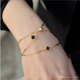 Wholesale Open Clover - Korean multi-layer diamond four-leaf clover opening female bracelet 18K rose gold alloy jewelry bracelet three-piece