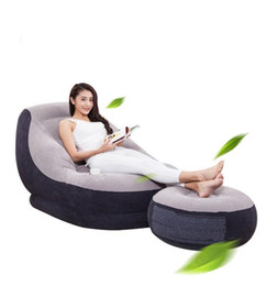 Wholesale modern bedding fabric - Foldable Inflatable Sofa With Pedal Footstool Gaming Chair For Reading Leisure Oversize Multifunction Portable Bed Relief Stress 86ab BZ