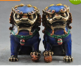 Wholesale Bronze Foo Dogs - Old Chinese Fengshui bronze Cloisonne Guardion Foo Fu Dog Lion beast statue pair