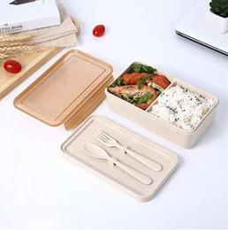 forquilha para lancheiro Desconto Troncos de Palha de trigo Recipientes com Compartimentos Faca Garfo Microondas Bento Box para Crianças Picnic Food Container Alta Qualidade