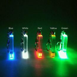 2019 luces led personalizadas Mini LED Acrílico Llavero Intermitente RGB Luces Botón En Blanco Placa de Acrílico Batería Powered Novedad Regalo Hecho Al Por Mayor luces led personalizadas baratos
