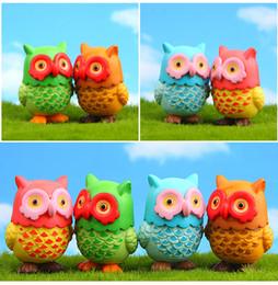 Modelos coruja on-line-4 pçs / lote 3.4 * 4.2 cm Adorável PVC Emulação Big-Eyed Owl Mini Modelo Casa Coleção Dolls Anime Crianças Figura de Ação Micro-paisagem Crianças brinquedo