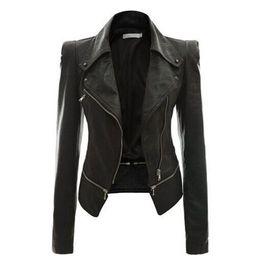 2019 chaqueta punk más tamaño Mujeres PU chaqueta de cuero otoño estilo punk negro caqui delgado con cremallera cuello de solapa motor calle fresca moda más tamaño chaquetas calientes chaqueta punk más tamaño baratos