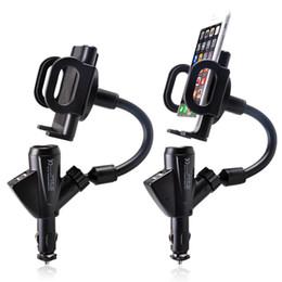 Accenditore auto del supporto del telefono online-Caricabatterie per auto con doppio accendisigari USB per auto con supporto per telefono