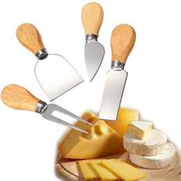 Wholesale Pizza Set - 4Pcs Set Cheese Knife Pizza Scraper Slicer Cutter with Wood Handle 6-6.8cm Butter Grater Home Kitchen Tool Baking Supplier WX9-213