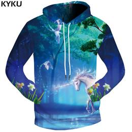 Wholesale Dream Clothing - KYKU Unicorn Sweatshirts Dream 3d hoodies Jungle Clothing Water Hoodie Bird Sweat shirt Sweatshirts Male Men Cool Funny Mens