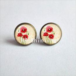 20ea0e6e7 NES-007 Red Poppy Studs Earrings Field Of Poppies Earring For Women Floral  Art Glass Dome Earrings Gifts Men Women HZ4