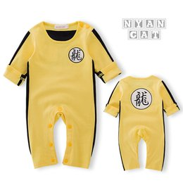 Wholesale Chinese Clothes For Boys - New Newborn Baby Clothes Baby Costume Baby Boy Clothes Chinese Style Dragon Letter Pattern Jumpsuit Romper Outfits For Bruce Lee