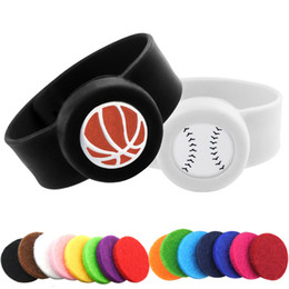 silicone beaded bracelets Coupons - Basketball Stainless Steel Kids Adjustable Essential Oil Bangle Children Men Women Silicone Diffuser Locket Silicone Bracelets