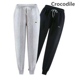Wholesale Mens Casual Trousers - Winter Autumn 100% Cotton Sweatpants Mens Crocodile Embroidery Track Pants Casual Baggy Lined Tracksuit Trousers Jogger Harem Pants Men