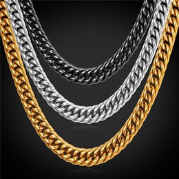U7 9MM Statement Gold Chain Necklace Bracelet Men Jewelry 18K Gold Plated Stainless Steel African Ethiopian Jewelry Set Accessories GN2239 Coupon