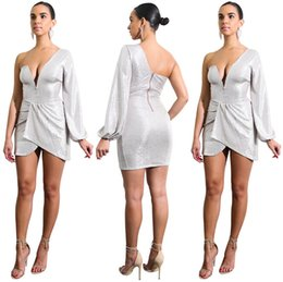 Wholesale summer party dresses design casual - Women Irregular Dresses New Design Deep V Sexy Night Club Dress Zipper Closure Party Dresses Size S-2XL