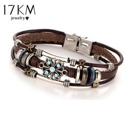 17KM 2 Style Vintage Fleur Bracelets Bracelet Boho Plusieurs Couches En Cuir Bracelet À La Main Femelle Punk Bijoux pour Femmes Homme ? partir de fabricateur