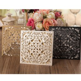 Wholesale wedding invitations inserts - 10pcs Luxury BLACK GOLD Wedding Invitations Card Holiday Supply Birthday Party Prom Family Card Insert Paper Blank Decoration