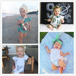 three quarter denim shorts Promo Codes - baby girl romper kid clothes bodysuit floral plaid lace leopard solid headband ruffles sleeve buttons 2017 summer Ins briefs 0-2Y