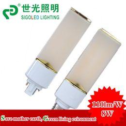 Wholesale Hk Post Free Shipping - HK post free shipping -New-8W LED plug light led horizontal down light, G23 G24 E27, up to 100-110lm w