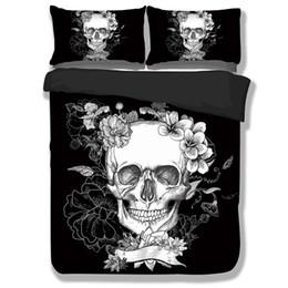 Wholesale Design Flower Bedding - Wongsbedding Brand Black 3D Skull Bedding Sets With Flower Duvet Cover Bedclothes Single Full Queen King Size 3PCS New Design