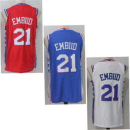 Wholesale Relaxing Canvas - 2017-2018 New Brand Player Style 20 Markelle Fultz 21 Joel Embiid 25 Ben Simmons 76ers white blue red Stitched jersey