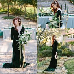 Smaragdkleid v hals online-Emerald Green Velvet Abendkleider Lange Ärmel Tiefem V-Ausschnitt Backless Lange Meerjungfrau Party Kleider Prom Kleider Benutzerdefinierte Plus Größe