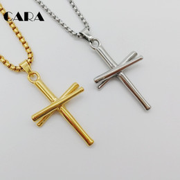 Wholesale baseball bat gifts - CARA Gold color Baseball bat cross necklace 316L stainless steel cross necklace fashion gym sports biker necklace gift CARA0440-1