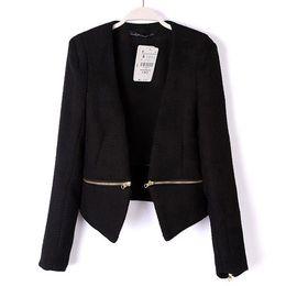 Wholesale Suit Jacket Women Designs - 2016 New Spring Slim Black Blazer Female Suit Jacket Slim Short Design OL Women's Removable V-neck Zipper Wild Coat 1054
