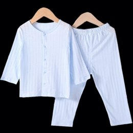 Wholesale Pajama Years - Top Quality 1 To 6 Years Kids Autumn Pajama Sets Toddler Boys Girls Full Sleeve Dobby Cardigan Sleepwear Children 'S Homewears