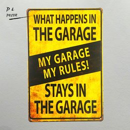 Wholesale Novelty Tool Gifts - DL-shabby chic Retro My Garage My Rules What Happens in the Garage Metal Novelty Sign Tool Shop