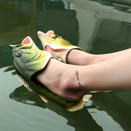 Wholesale Types Heels Sandals - Family Slipper Creative Type Fish Slippers Woman Handmade Personality Fish Sandals Kids Women Bling Flip Flops Slides Fish Beach Slippers