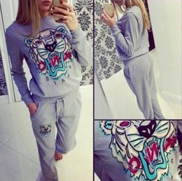 Wholesale Tiger Knit Sweater - 2017 Spring and Autumn New Tiger Print Sports Set Autumn Sleeve Sweater Sportswear Leisure women Sports Set Free Shipping
