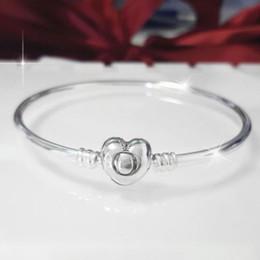 Canada Moments argent bracelets Bangle logo coeur fermoir S925 en argent sterling convient pour charmes bracelet pandora style 596268 H8 supplier heart charm pandora style bracelet Offre