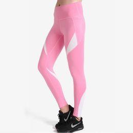 il ballo bianco di yoga ansima Sconti Pantaloni da Yoga PinkWhite 2017 Pantaloni da donna Leggings Fitness Pantaloni sportivi da ginnastica Running Leggings da danza Pantaloni attillati