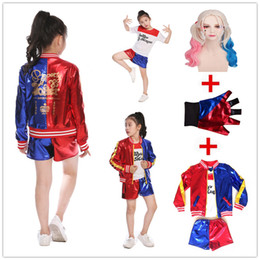 Magliette di film di halloween online-Ragazze Bambini Film Suicide Squad Harley Quinn Costume Cosplay JOKER Suicide Squad Halloween Purim Maglietta Top Jacket Pants