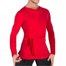 Ropa de danza profesional online-Las camisas latinas populares de la danza para los hombres varían Color Dance 2 Tops de la manga Ropa Hombres profesional del salón de baile práctica del partido Wears 7027