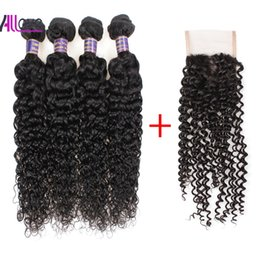Cheap 8A Kinky Curly Bundles 4PCS with Lace Closure Malaysian Virgin Hair Wefts Brazilian Hair Extensions With Lace Closure Wholesale Deals