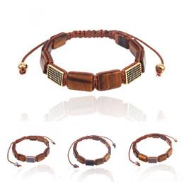 Olho bracelete macrame on-line-Venda quente Pedra Natural Pulseira olho de tigre Retângulo talão Preto contas cz macrame trançado pulseiras Para Mulheres Dos Homens presentes da jóia
