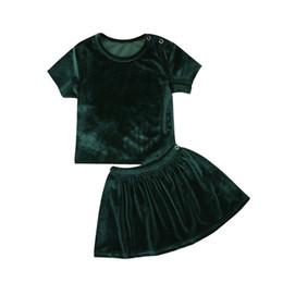 82261f7b9ffe I vestiti delle ragazze del bambino del bambino hanno messo la maglietta  del collo del girocollo della manica corta del velluto di estate Superiore  Gonne ...