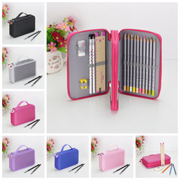 Wholesale brush shoulders - Art Pencil Case Drawing Sketch Brushes Slots Holder Canvas Pouch School Cosmetic makeup brushes organizer Pen Bag Kids Purse AAA728