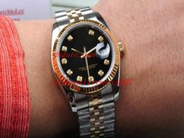 Wholesale Noble Diamonds - Nobles nobility Luxury AAA Sapphire White Black Diamond Dial 36mm 116233 Two Tone Gold Automatic Mechanical Men's Watches top brand wristwat