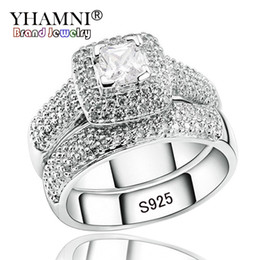 Wholesale double diamond rings - YHAMNI Luxury Engagement Double Rings Set Original Real 925 Solid Silver White CZ Zircon Ring Set Wedding Fine jewelry R149