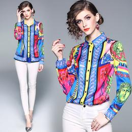 camisolas sem mangas Desconto Outono Nova Camisa de Moda Europeia Impressão Polo Pescoço Palácio Multicolor Mulheres Senhora Do Escritório Blusa