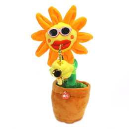 Wholesale dancing plush - Electric Plush Toys Sing Dance Enchanting Flower Sunflower Handmade Luminescence Sax Plant Modelling Wear Sunglasses Novelty Items 36cj V