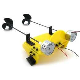 Wholesale Wholesale Boat Propellers - Wholesale-DIY Handmade Toy Boat Kit Electric Two Motor Propeller Power Driven Remote Control Boat RC Model