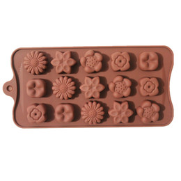 Wholesale Flower Chocolate Molds - Wholesale- new 15 with 5 kinds of flower silicone chocolate mold ice tray molds DIY baking molds CDSM-229
