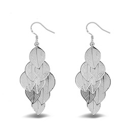 Wholesale Filigree Dangle Earrings - Women'S Silver Plated Gloss Filigree Leaf Long Earrings Trendy Bohemian Jewelry Hollow Long Tassel Feather Dangle Drop Earrings