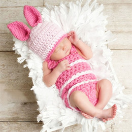 Wholesale crochet kids clothes - New Bunny Rabbit Newborn Baby Kids Clothing Photography Props Suit With Hat Easter Rabbit Infant Baby Photo Prop Crochet Photography Props