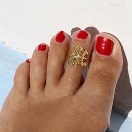 винтажные кольца для ног Скидка Европа Панк Старинные Цветок Toe Кольцо Золото Серебро Ног Палец Кольцо Пляж Ювелирные Изделия Для Женщин