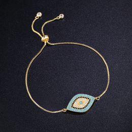 Wholesale Turkish Chains Gold - whole saleNew Simple Designer Turkish Gold Evil Eye Bracelet Pave CZ Blue Eye Gold Chain Bracelet Fashion Charm Bracelets for Women brtk53