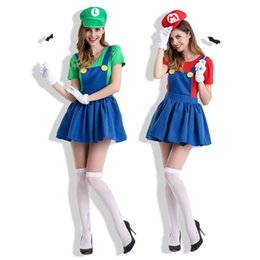 Wholesale Top Anime Cosplay Costumes Female - Free Shipping Mario Mario Anime Game Uniform Cosplay Super Mario Halloween Costume Including Hat Top Dress Sundress Gloves Moustache
