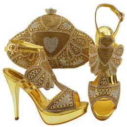 conjuntos de bolsas de casamento sapatos Desconto Jzc004 Sapatos e Bolsa em Ouro para Combinar com Sapatos Italianos de Casamento e Conjunto de Mala Italiana de Sapato e Conjunto de Mala