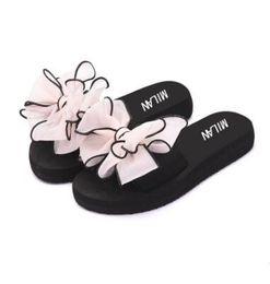 Wholesale flat fashion sandals for ladies - Sandals for Women Lady Non-Slip Shoes Summer Flip Flops Floral Beach Flat Sandals Women Slippers Lace Chinelo Mesh Bowknot Girls Slides